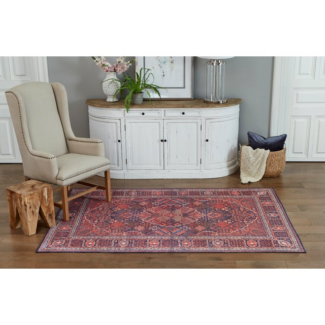 "2010s Traditional Momeni Afshar Polyester Navy Area Rug - 7'6"" X 9'6"" For Sale - Image 5 of 6"