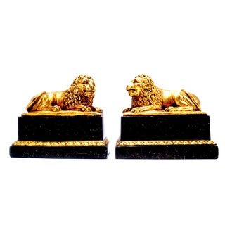 Vintage 1960's Italian Borghese Lion Bookends For Sale
