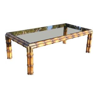 Vintage Tiki Palm Beach Bamboo Style Smokey Glass Coffee Table