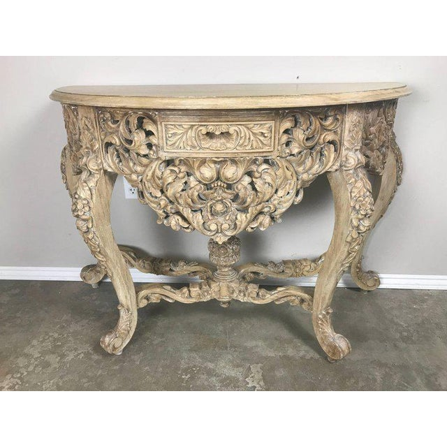 Walnut French Rococo Style Console With Centre Drawer For Sale - Image 7 of 10