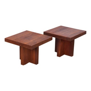 Pair of Milo Baughman Walnut Side Tables Model 1922 For Sale