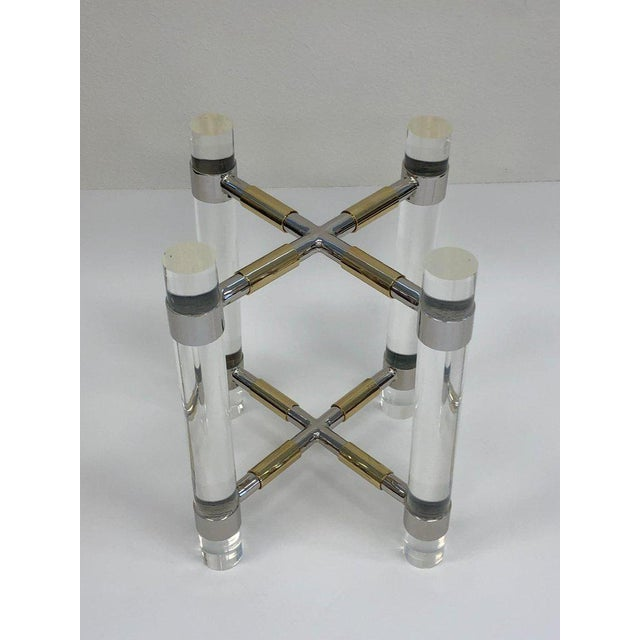 Charles Hollis Jones Chrome and Polish Brass Continental Height Table by Charles Hollis Jones For Sale - Image 4 of 10