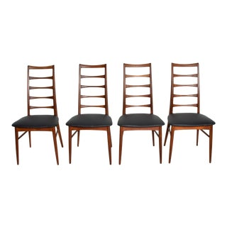 Set of 4 Danish Modern Teak Ladder Back Niels Koefoeds Dining Chairs Hornslet For Sale