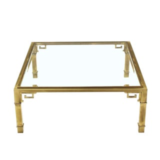 Greek Key Square Brass Glass Top Coffee Table Mastercraft