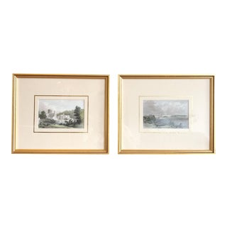 Antique French Gilt Framed Copper Plate Engravings - Pair For Sale