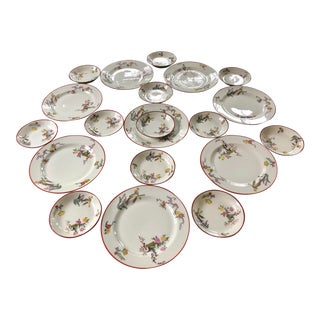 Early 20th C. Jean Pouyat Limoges Chinoiserie Serving Set of 19 For Sale