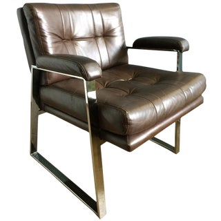 1960s Vintage Patrician Furniture Chrome and Vinyl Armchair For Sale