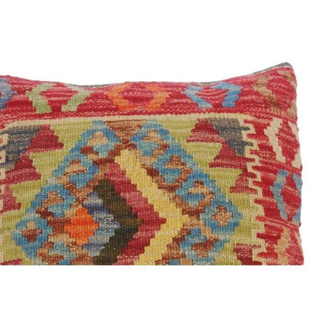 """Asian Clelia Orange/Lt. Blue Hand-Woven Kilim Throw Pillow(18""""x18"""") For Sale - Image 3 of 6"""