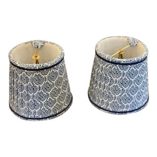Custom Lamp Shades With Blue Pattern - a Pair For Sale