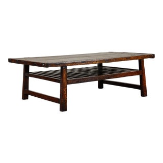18th C. Chinese Coffee Table With Slatted Shelf For Sale
