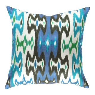 Turkish Hand Woven Silk Ikat Pillow 20'' #Ti 294 For Sale