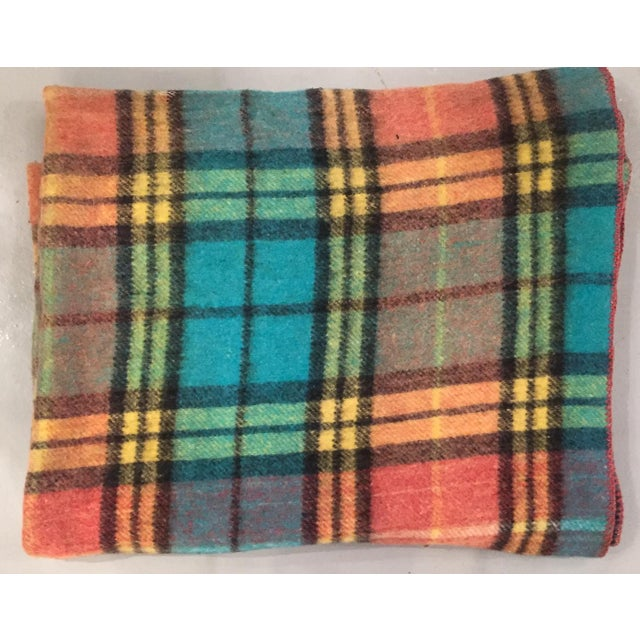 Mid-Century Plaid Whip Stitched Camp Blanket - Image 5 of 6