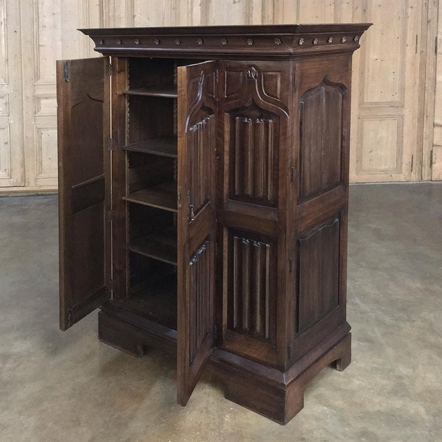 19th Century French Gothic Solid Walnut Armoire ~ Bonnetiere For Sale - Image 10 of 13