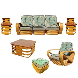 1930s Mid Century Rattan and Mahogany Living Room Set - Set of 6 For Sale