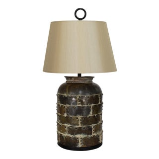 Brutalist Distressed Brass Chapman Lamp For Sale