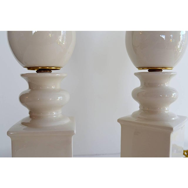Brass 1940s Mid-Century Modern Blanc De Chine Baluster Form Table Lamps - a Pair For Sale - Image 7 of 8