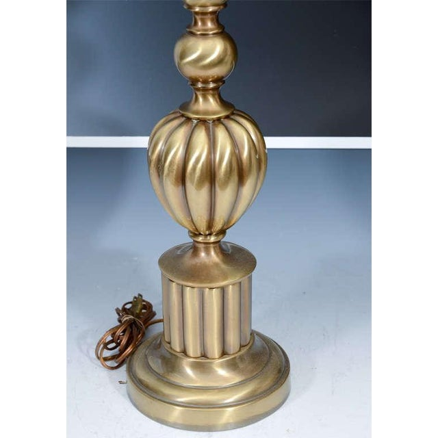 Hollywood Regency Beautiful Pair of Brass Hollywood Regency Lamps by Stiffel For Sale - Image 3 of 3