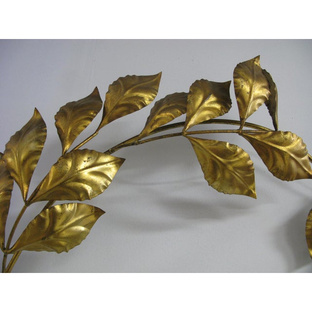 1960s Vintage Mid Century Hollywood Regency Italian Gilded Leaves Wall Sculpture For Sale - Image 5 of 11