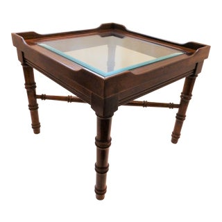 Vintage Lane Faux Bamboo Wood Side Table For Sale