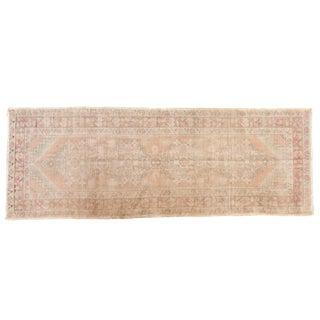 """Vintage Distressed Oushak Rug Runner - 3'5"""" X 9'2"""" For Sale"""