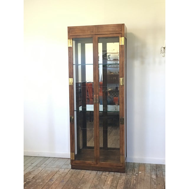 Henredon Campaign Style Lighted Display Cabinet - Image 2 of 6