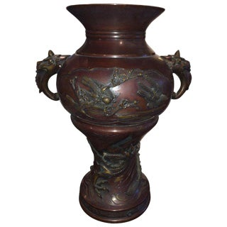 Meiji Period Bronze Twin Handled Urn With Decoration For Sale