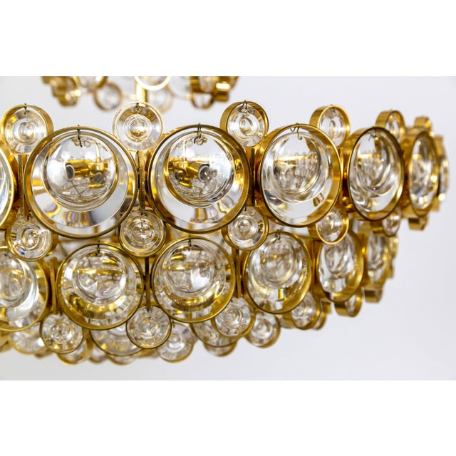 Circular Gilt Brass & Optical Lens Crystal Multi Tier Chandelier by Palwa For Sale In San Francisco - Image 6 of 13