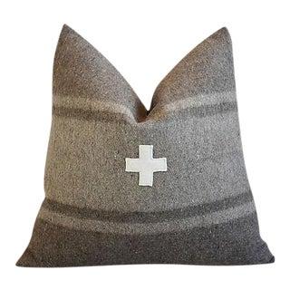 "22"" Custom Tailored Italian Appliqué Cross Wool/Linen Feather/Down Pillow"