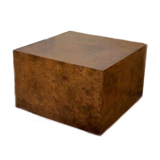 1970s Milo Baughman Burl Wood Large Cube End Table For Sale - Image 13 of 13