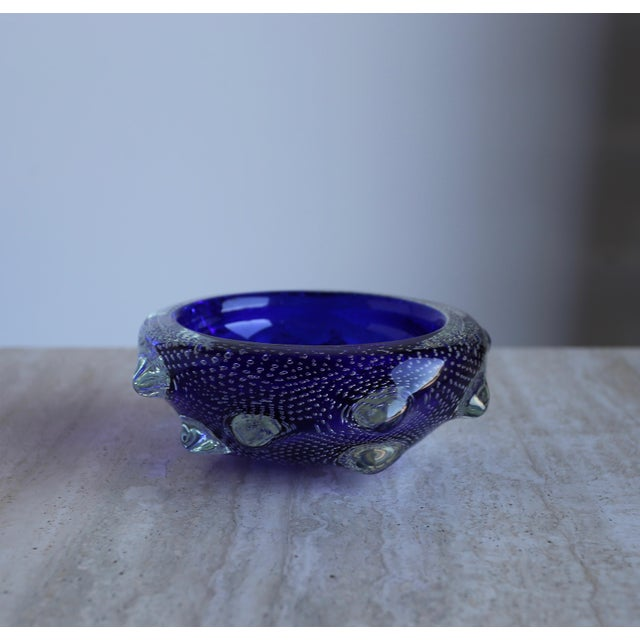 Blue 1960s Sculptural Blue Murano Art Glass Bowl For Sale - Image 8 of 8