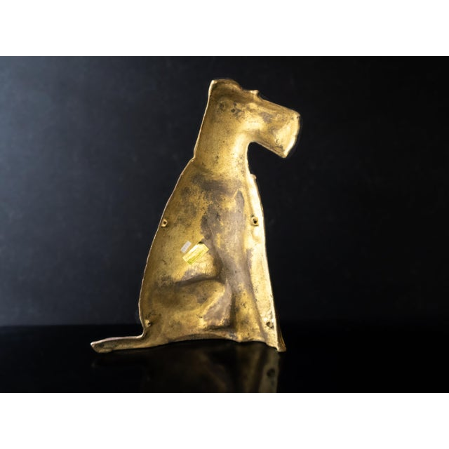 Metal Vintage Maitland Smith Brass Scottish Terrier Doorstop Life Size Statue For Sale - Image 7 of 9