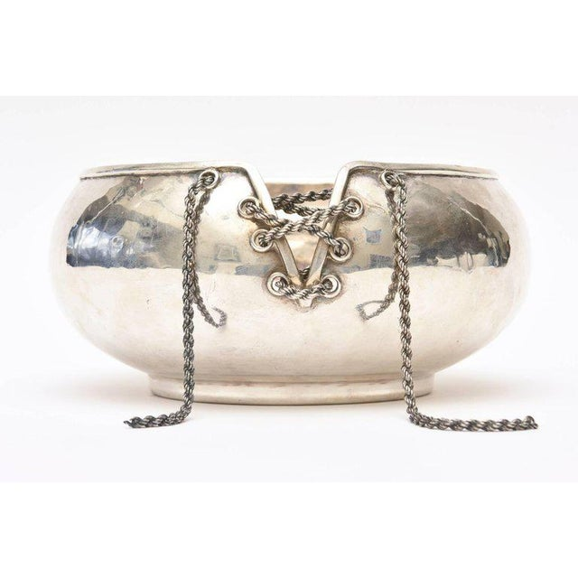 Italian Hand Forged Hallmarked Sterling Silver Corset Bowl - Image 2 of 11