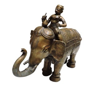 Cast Bronze Indian Elephant With Rider For Sale