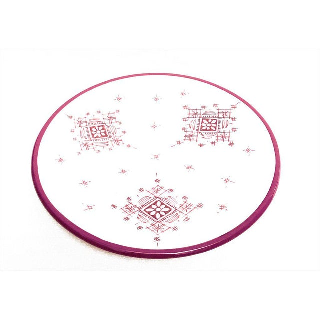 Moroccan Hand Painted Burgundy Large Plates A Pair Chairish