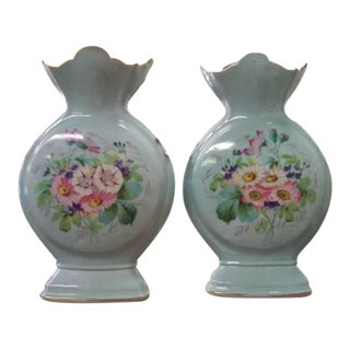 Antique French Napoleon III Floral Vases - A Pair For Sale