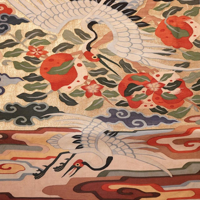 Antique Chinese Kesi Silk Tapestry Weave Chair Cover Panel Fabric For Sale In New York - Image 6 of 13