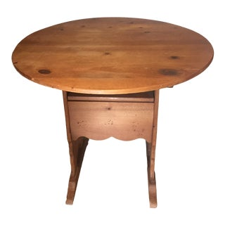 1980s Georgian Pine Flip Top Table & Chair For Sale