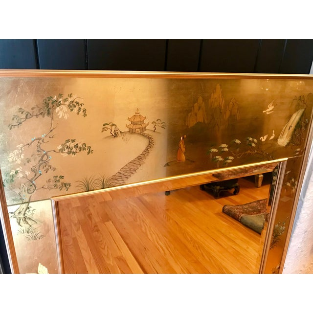 Offered here is an Oriental, Hollywood Regency, and Mid Century Modern style mirror handcrafted in the USA by La Barge....