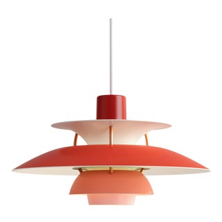 Poul Henningsen Red PH5 Mini Pendant for Louis Poulsen For Sale