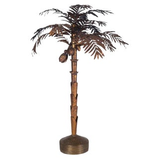 Maison Jansen Palmtree Floor Lamp in Copper For Sale