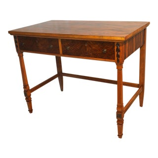 Figured Walnut and Maple Side Table Desk For Sale