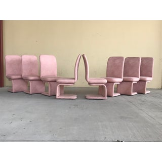 1990s Vintage Milo Baughman for Carsons Pink Upholstered Rolling Swivel Dining Chairs- Set of 8 Preview