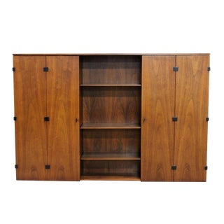 1960s Vintage Milo Baughman for Directional Mid Century Modern Walnut 9 Shelf Hutch For Sale