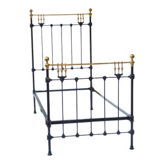Handsome Black and Brass Twin Beds - a Pair For Sale