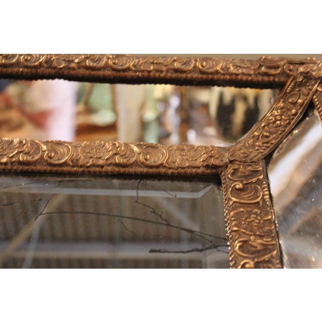 1870 Antique Italian Repousse Brass Mirror - Image 4 of 7