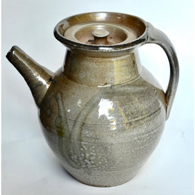 Green Studio Pottery Large Pitcher, Style of Winchcombe Pottery For Sale - Image 8 of 8