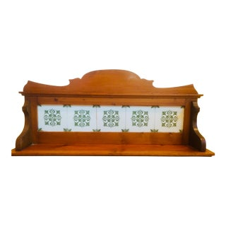 Americana Pine Wall Shelf With Hand-Painted Tiles For Sale