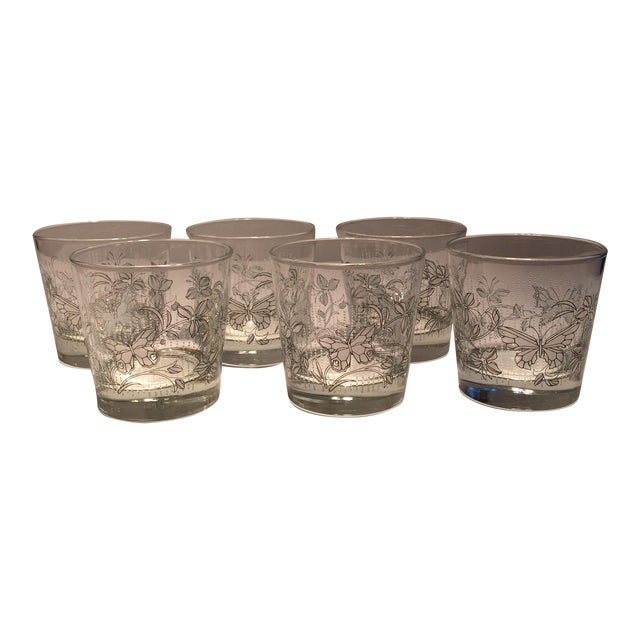 Vintage Butterfly Design Low Ball Glasses - Set of 6 - Image 1 of 11