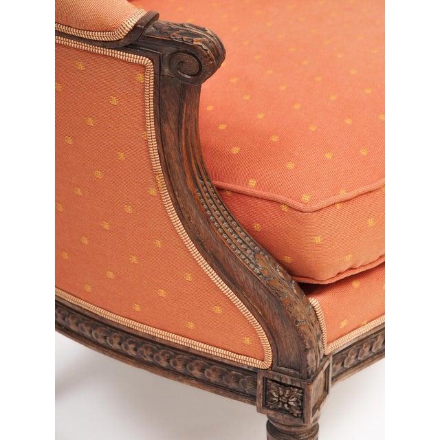 "Orange Louis XVI Style Bergere ""En Gondole"" For Sale - Image 8 of 9"