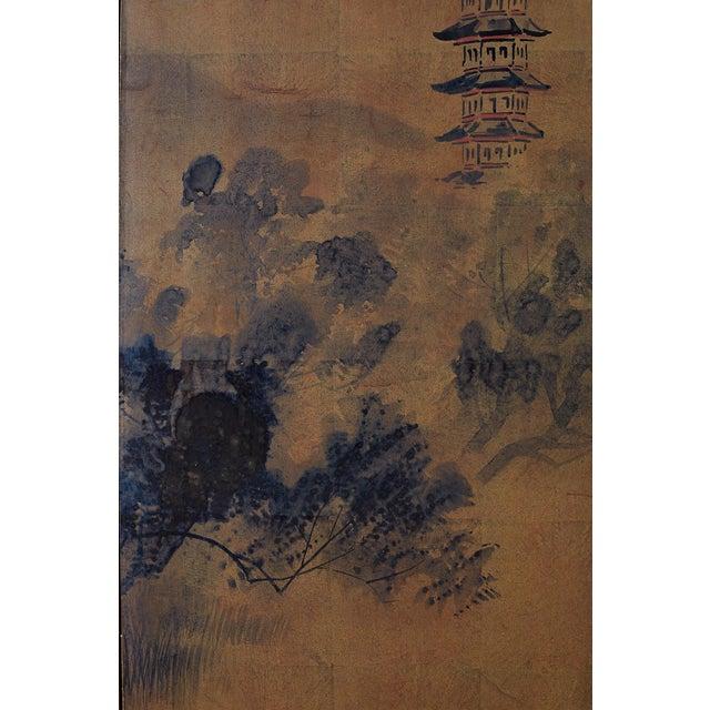 Black Japanese Four-Panel Screen of Pagoda Bridge Landscape For Sale - Image 8 of 13